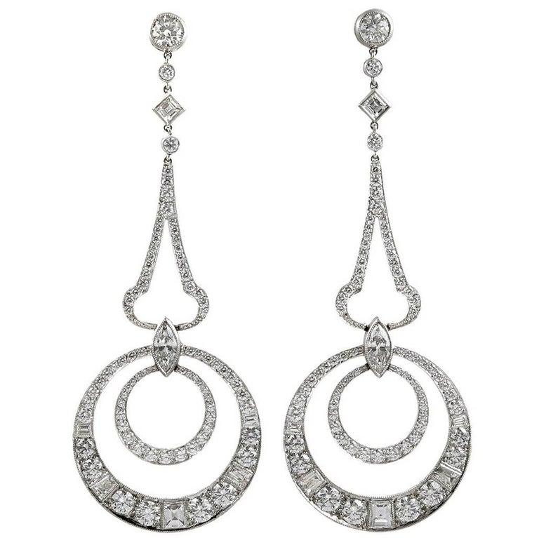 Platinum Diamond Dangle Earrings
