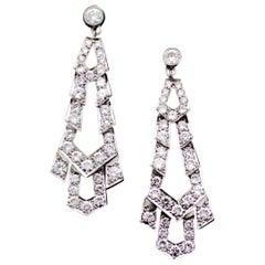 Platinum Diamond Dangling Earrings, circa 1940s