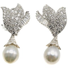 Platinum Diamond Dangling Pearl Night and Day Earrings