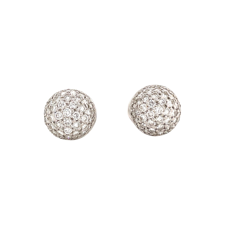 Platinum Diamond Dome Earrings 1.50 Carats F SI
