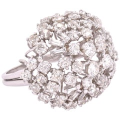 Platinum Diamond Domed Cocktail Ring