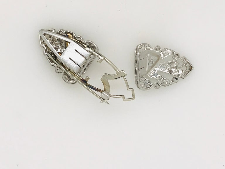 Platinum Diamond Double Clip, circa 1940 In Excellent Condition For Sale In Armadale, Victoria