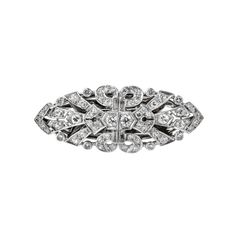 Platinum Diamond Double Clip, circa 1940 For Sale