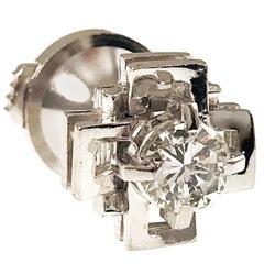Platinum Diamond Double Cross Tie Tack