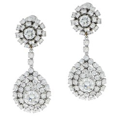 Platinum Diamond cluster Drop Chandelier Earrings