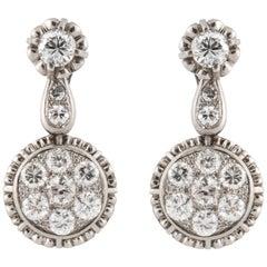 Platinum Diamond Drop Earrings