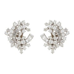 Platinum Diamond Earrings, 1950s