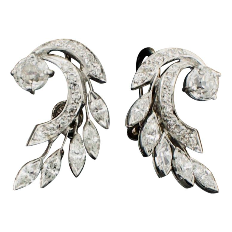 Platinum Diamond Earrings, circa 1950s