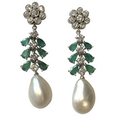 Platinum Diamond Emerald and Natural Pearl Long Dangle Earrings
