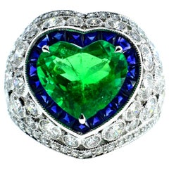 Platinum, Diamond, Emerald and Sapphire Ring