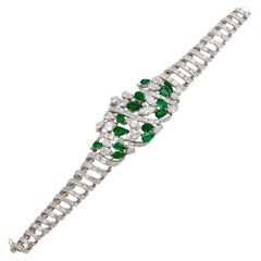 Platinum Diamond, Emerald Bracelet