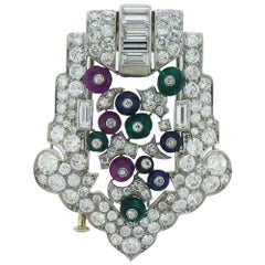 Platinum Diamond Emerald Sapphire and Ruby Pin by Cartier