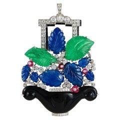 Platinum Diamond, Emerald, Sapphire & Onyx Brooch