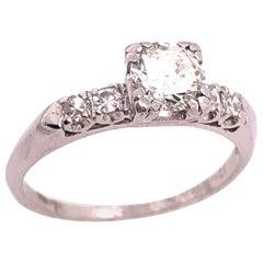 Platinum Diamond Engagement Ring 0.85 Total Diamond Weight