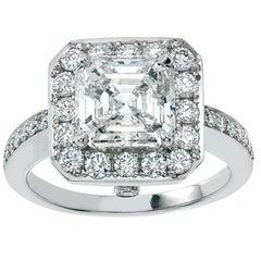 Platinum Diamond Engagement Ring, 3.01 Asscher Cut Diamond FVS1, GIA