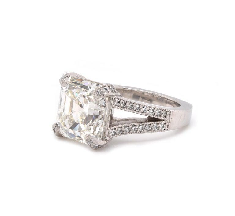 Emerald Cut Platinum Diamond Engagement Ring For Sale