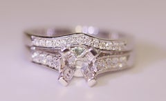 Platinum Diamond Engagement Ring Wedding Band .70 Carat Total Weight by Tycoon
