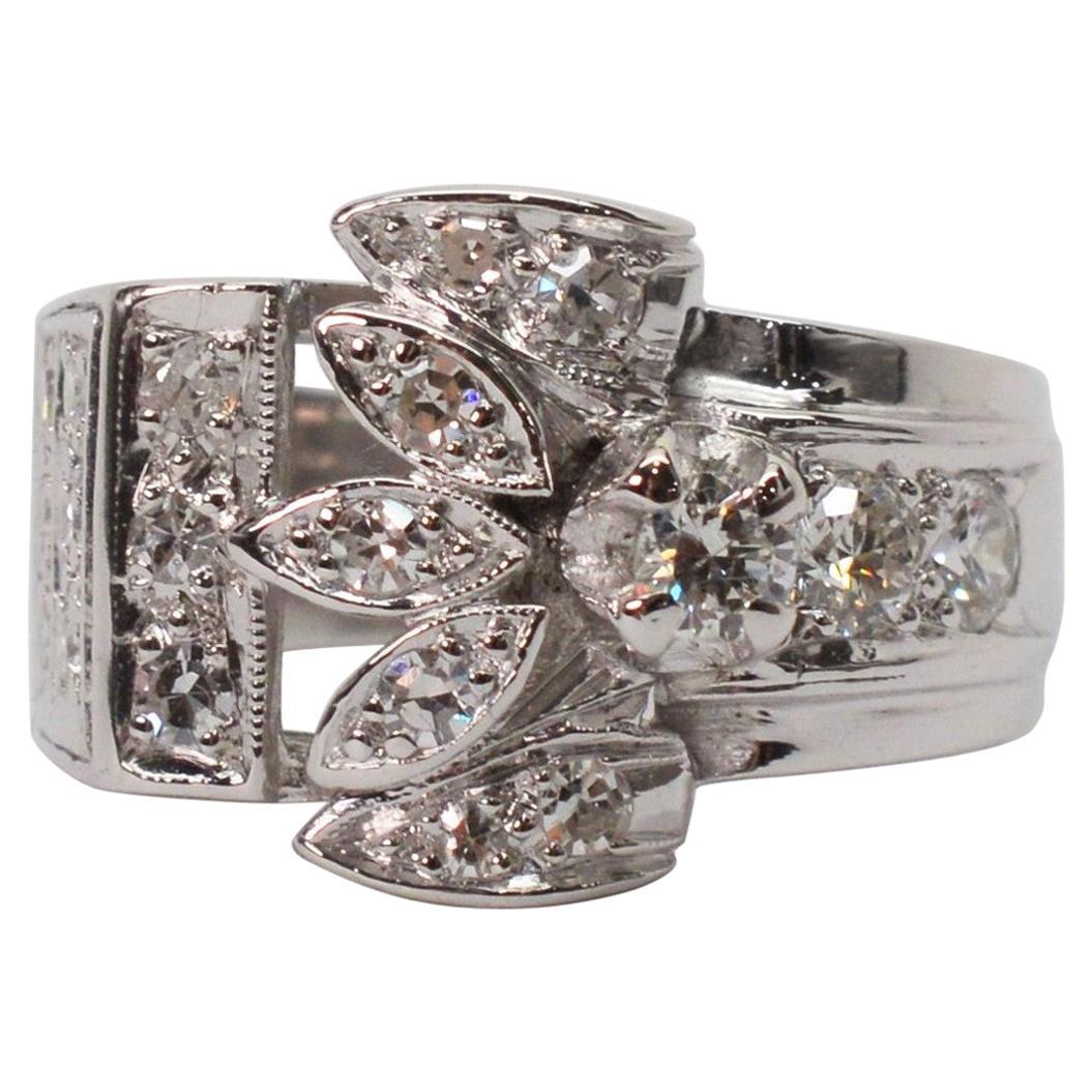 Platinum Diamond Engagement Wide Band Ring