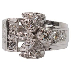 Platinum Diamond Engagement Wide Band Ring