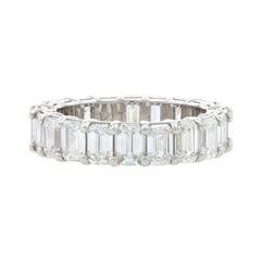 Platinum Diamond Eternity Band, Emerald Cut 4.60ctw Women's Wedding Ring