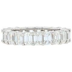 Platinum Diamond Eternity Band, Emerald Cut 5.05 Carat Women's Wedding Ring