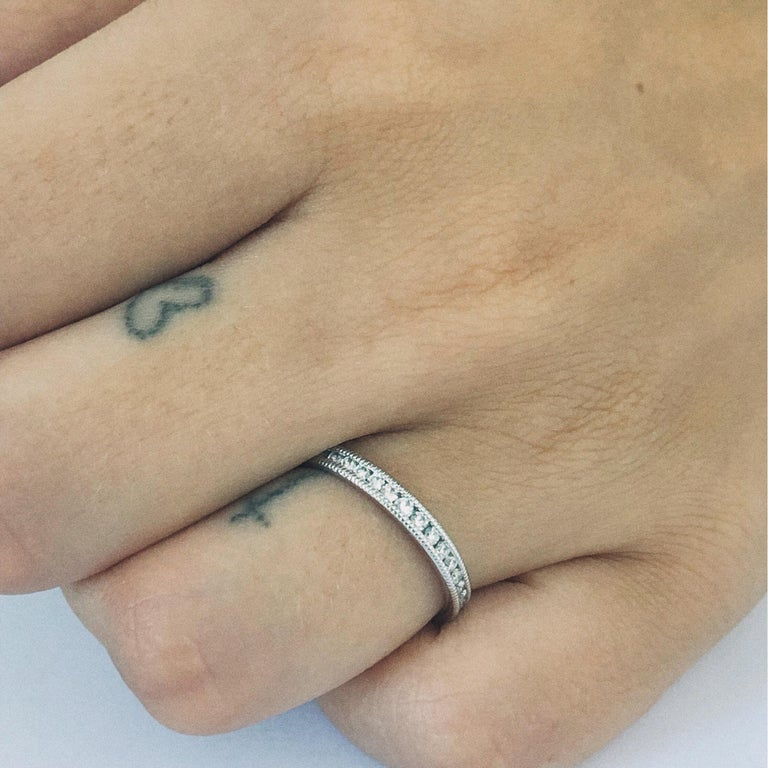 Round Cut Platinum Diamond Eternity Band Fine Milgrain Edge For Sale