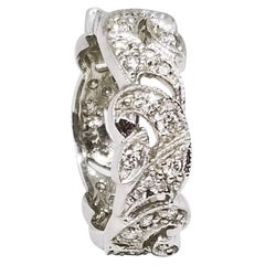 Platinum Diamond Eternity Swirl Band Retro Design 0.70 Carat Anniversary Bridal