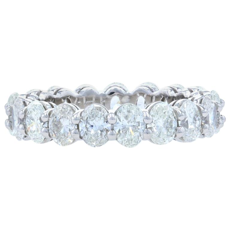 Platinum Diamond Eternity Wedding Band Oval Cut 3.65 Carat Anniversary Ring