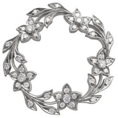 Platinum Diamond Floral Garland Pin