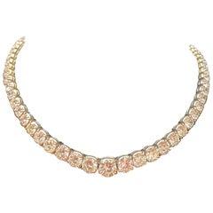 Graduated Platinum 31 carat Diamond Necklace