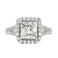 Platinum Diamond Halo, 2.19 Ct, Princess Cut Diamond Engagement Ring