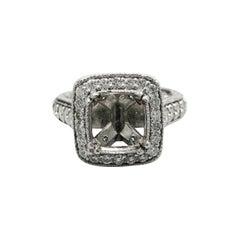 Platinum Diamond Halo for a Square Cut Stone