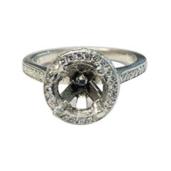 Platinum Diamond Halo Ring with Diamond on Both Top and Side of Center Stone