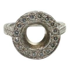 Platinum Diamond Halo Ring with Diamonds on Side of Shank