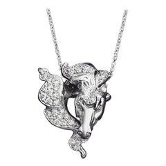 "Platinum Diamond Hand Carved ""Horse"" Head Pendant"