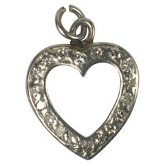 Platinum Diamond Heart Charm Pendant