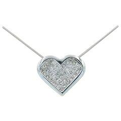 "Platinum Diamond ""Heart"" Necklace with 40 Invisible Set Princess Cut Diamonds"
