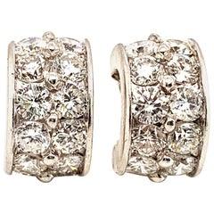 ISSAC NUSSBAUM NEW YORK Platinum Diamond Huggies Earrings