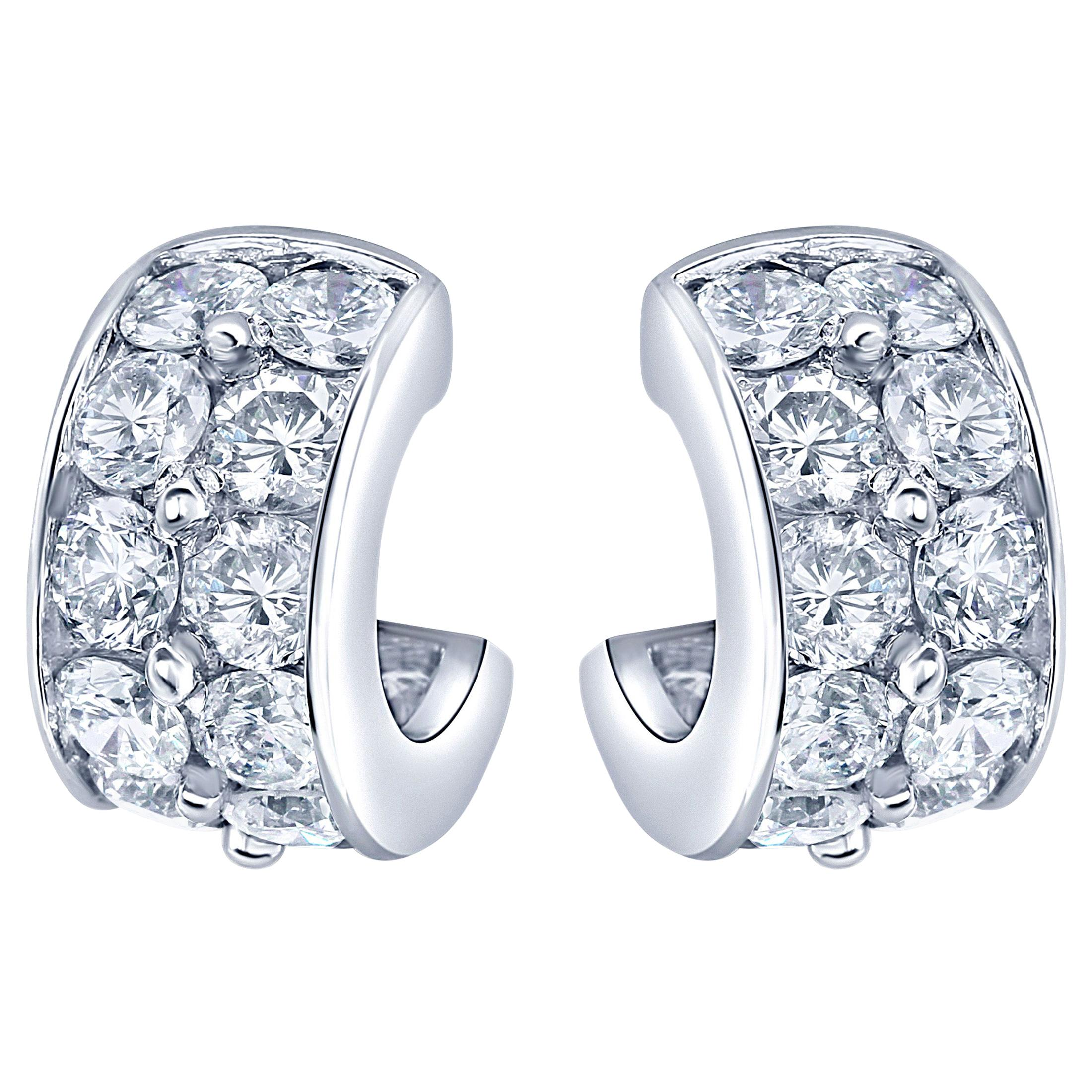 Platinum Diamond Huggies Earrings