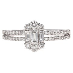 Platinum Diamond Illusion Engagement Ring