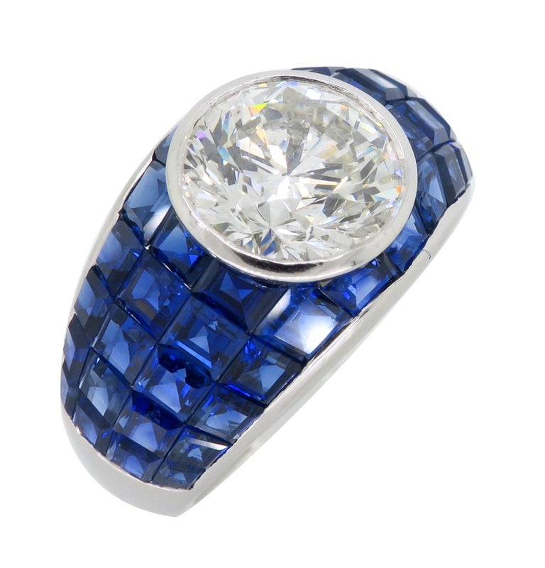Platinum Diamond and Invisible Set Blue Sapphire Ring For Sale 5