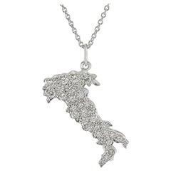Platinum Diamond Italy Pendant Necklace