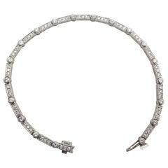 Platinum Diamond Line Bracelet Deco Style Signed Kelege