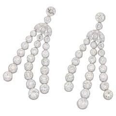 Platinum Diamond Long Drop Earrings