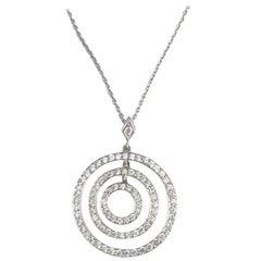 Platinum Diamond Lucky Circles Pendant Necklace