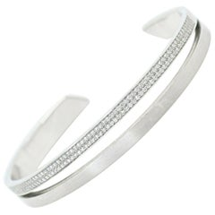 Platinum Diamond Micro-Pave' Split Bangle Cuff Bracelet