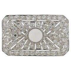 Platinum Diamond Moonstone Pendant Brooch