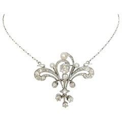 Platinum Diamond Necklace or Brooch