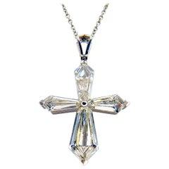 Platinum Diamond Necklace with Cross Pendant