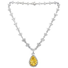 Platinum Diamond Necklace with Fancy Yellow Pear Shape